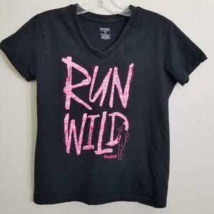 Reebock Women's Black & Pink Run Wild Tee